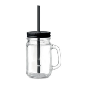 Γυάλινο Ποτήρι με Καλαμάκι, Ποτήρι με Καλαμάκι και καπάκι εκτύπωση